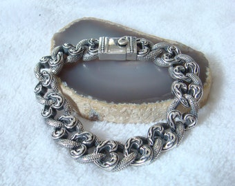 Solid and heavy curb link bracelet 925 sterling silver with safety clasp