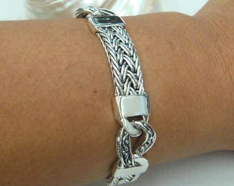 Flat bracelet combind  with braided chain and lovely link 925 sterling silver