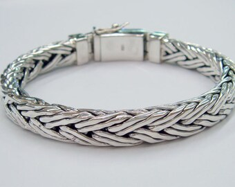 Double  wire woven chain 925 sterling silver bracelet