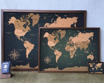 Cork world map etsy push pin cork travel world map printed directly in cork technique with laminated walnut wood frame 314 x 229 80x58cm gumiabroncs Image collections