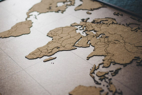 Laser Cut World Map.Lasercut And Handmade Cork Push Pin World Map Wall Art With Etsy