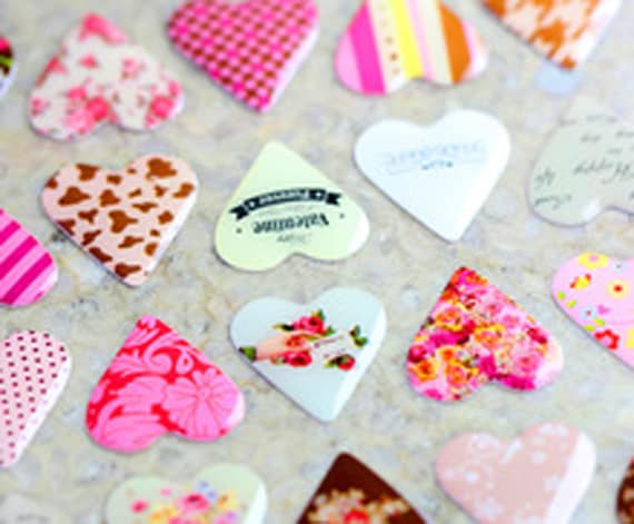 Patchwork Hearts Retro Sticker Sheet 3D Puffy Vintage Love Stickers Craft Heart
