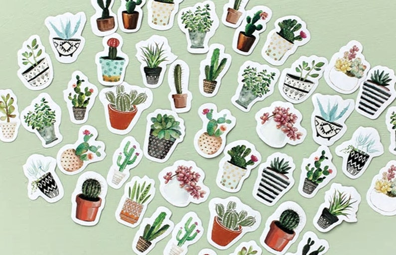 Self Adhesive Cactus Stickers Plastic Sheet For Card Christmas Decoration Crafts