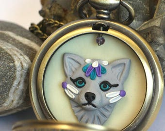 Wolf Fob Necklace Polymer Clay Pocket Watch Pendant Necklace