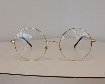 42c776e003cb6 1970s Large Round Gold Eyeglasses Frame  NOS w Original Sample Lenses   Spring Hinges  Beautiful Condition  Rx-able   Ready for your Lenses