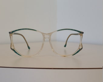 c02f6c37c5 1970s Green and Beige Translucent Eyeglasses Frame  Geometric Design  Gold  Trim  Marked France  Rx-able  No Lenses  Good Vintage Condition