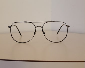 43efa40cb2 1990s Marchon Autoflex  Black Aviator Double Bar Frame  Flexible Metal   Good Vintage Condition  Rx-able  Add Lenses  Read Description Size