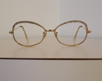 d620e5cae5f 1960s Shuron Gold Tone Eyeglasses Frame w White Crystals  Beautiful Vintage  Condition  Rx-able  Add your lenses  Read Description for Size
