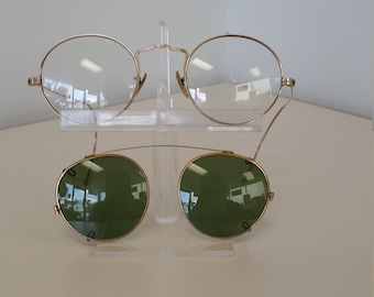 8d85b31ff2cb2 1940s Victory Eyeglasses Frame w Sun Clip  1 10 12KGF  Rx-able Frame  Clip  Ready to Wear  Excellent Condition  Ready for Prescription Lenses
