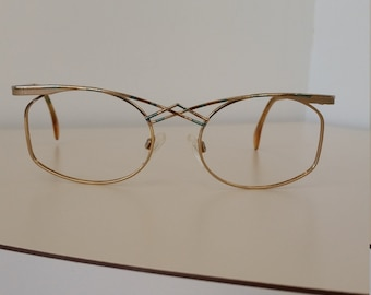 beca43efd927 1990s Cazal Eyeglasses Frame  Geometric Design  Gold with Teal and Brown  Detail  Beautiful Vintage Condition  Rx-able  Ready for Rx Lenses