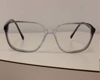 b79523fd720e 1980s Square Gray Clear Silver Dollar Frame  Spring Hinges  Excellent  Condition  No Lenses  Rx-able  Ready to Add Your Prescription
