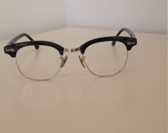 85ee6f34bb5c 1950s Shuron Eyeglasses Frame; Silver w/Black and Gray Brows and Temples;  Marked 1/10 12 KGF; Excellent Condition; Rx-able; Read Description