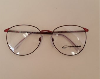 d6e44afd4c9 1980s Liberty Emporium Eyeglasses Frame  New Old Stock w Orig Sample  Lenses  Dark Red   Black  Rx-Able  Made in USA  Authentic Vintage