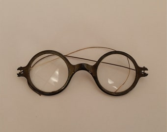 6519696c0b 1920s Round Reading Glasses  Aluminum Front w  Thin Gold Temples  +2.50  Strength  Very Good Vintage Condition  Ready to Wear  Reenactors