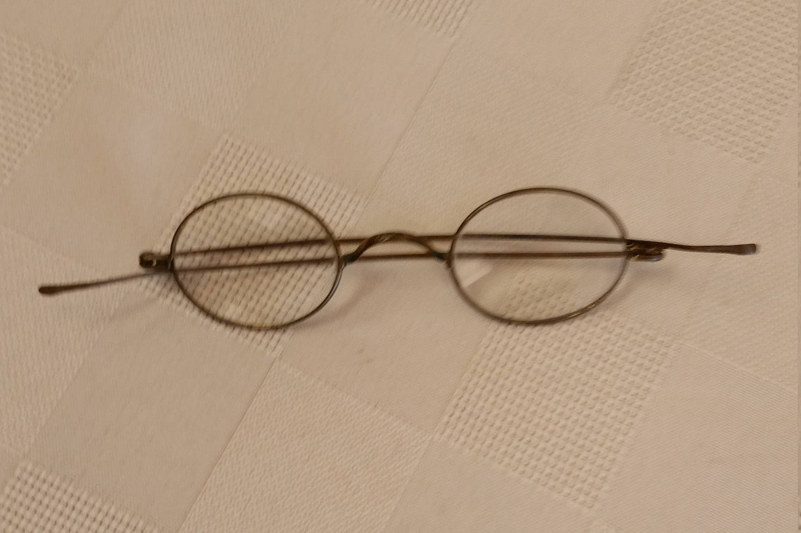 1800s Brass Reading Eyeglasses; +5.00 Strength; Excellent Vintage Condition; Ready to Use