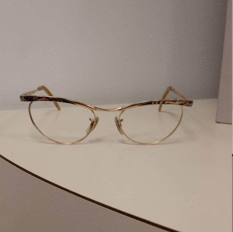 f366718884ca 1950s Martin Copeland Cateye Eyeglasses Frame Gold Black