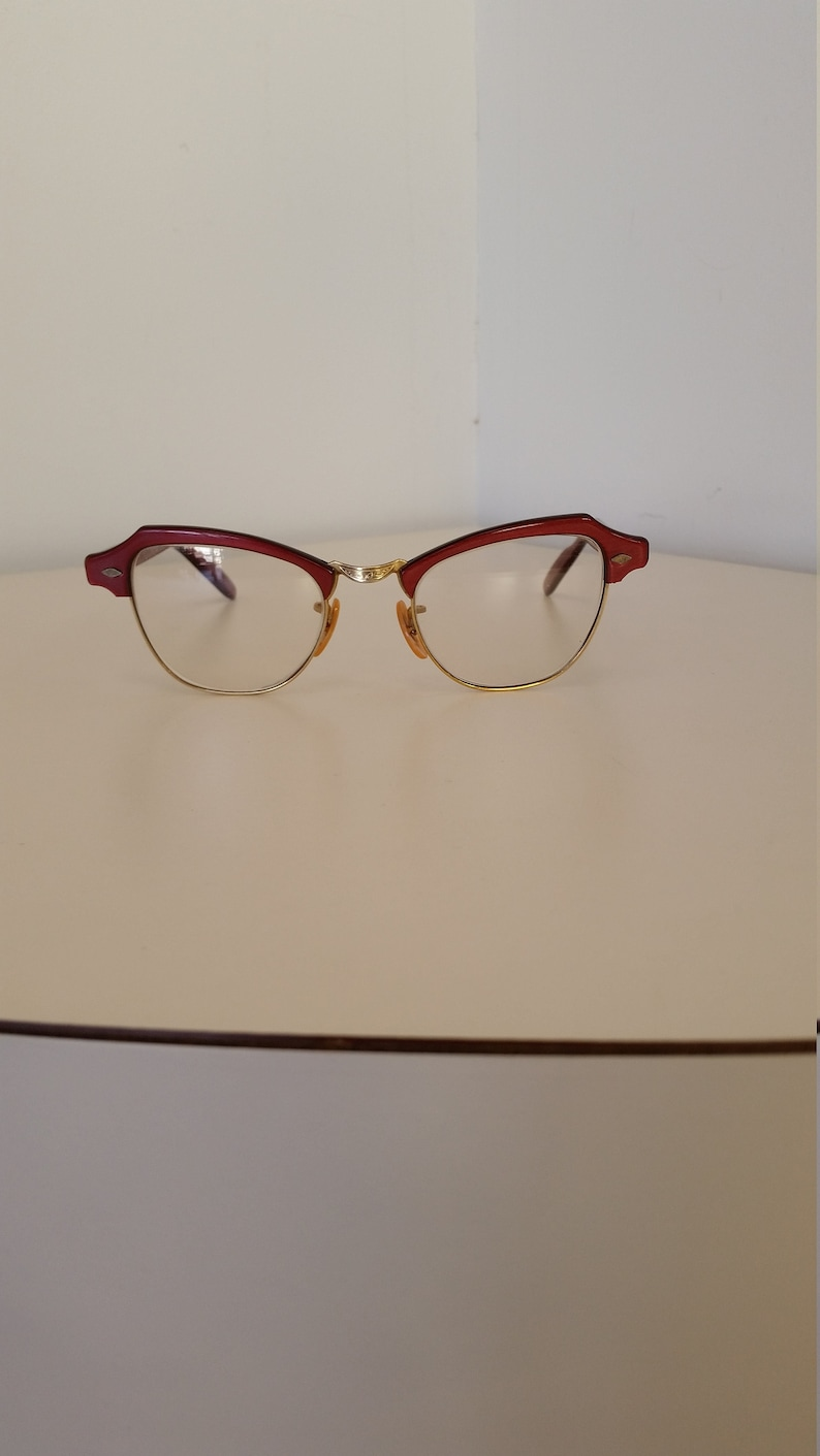 5e431f3ab047 1940s Red and Gold Eyeglasses Frame B L Brand Marked 1 10 12