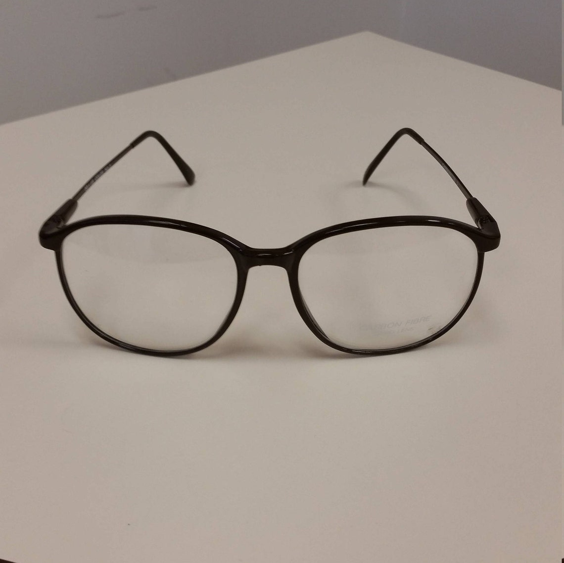 1970s Brown Carbonette Eyeglasses Frame; New/Old Stock w/ Orig Sample Lenses; Excellent Vintage Condition; Rx-able and Ready for Your Lenses