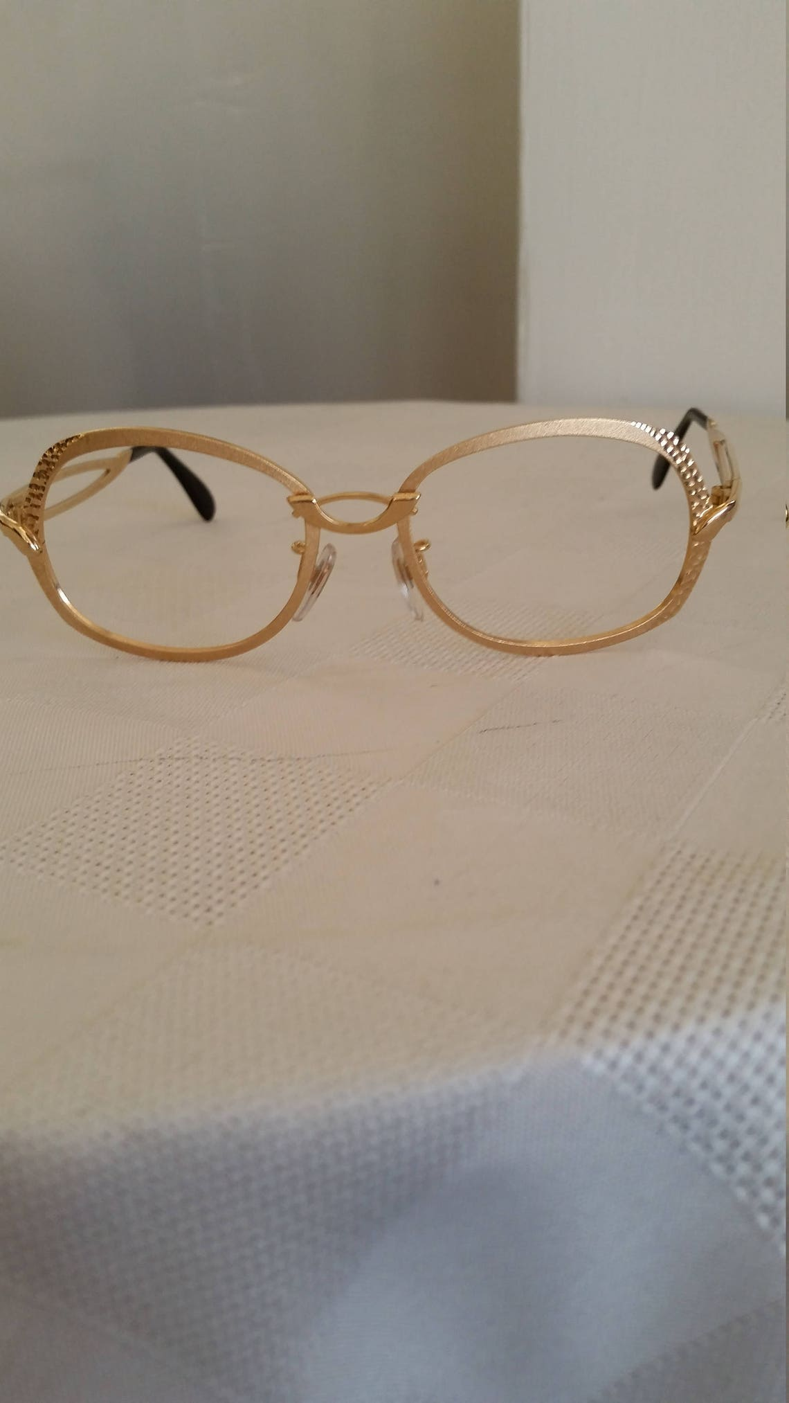 1970s Gold Art Deco Eyeglasses Frame; Beautiful Condition; Rx-able/ Ready for Prescription Lenses; Marked ROPCO W GERMANY; Authentic Vintage