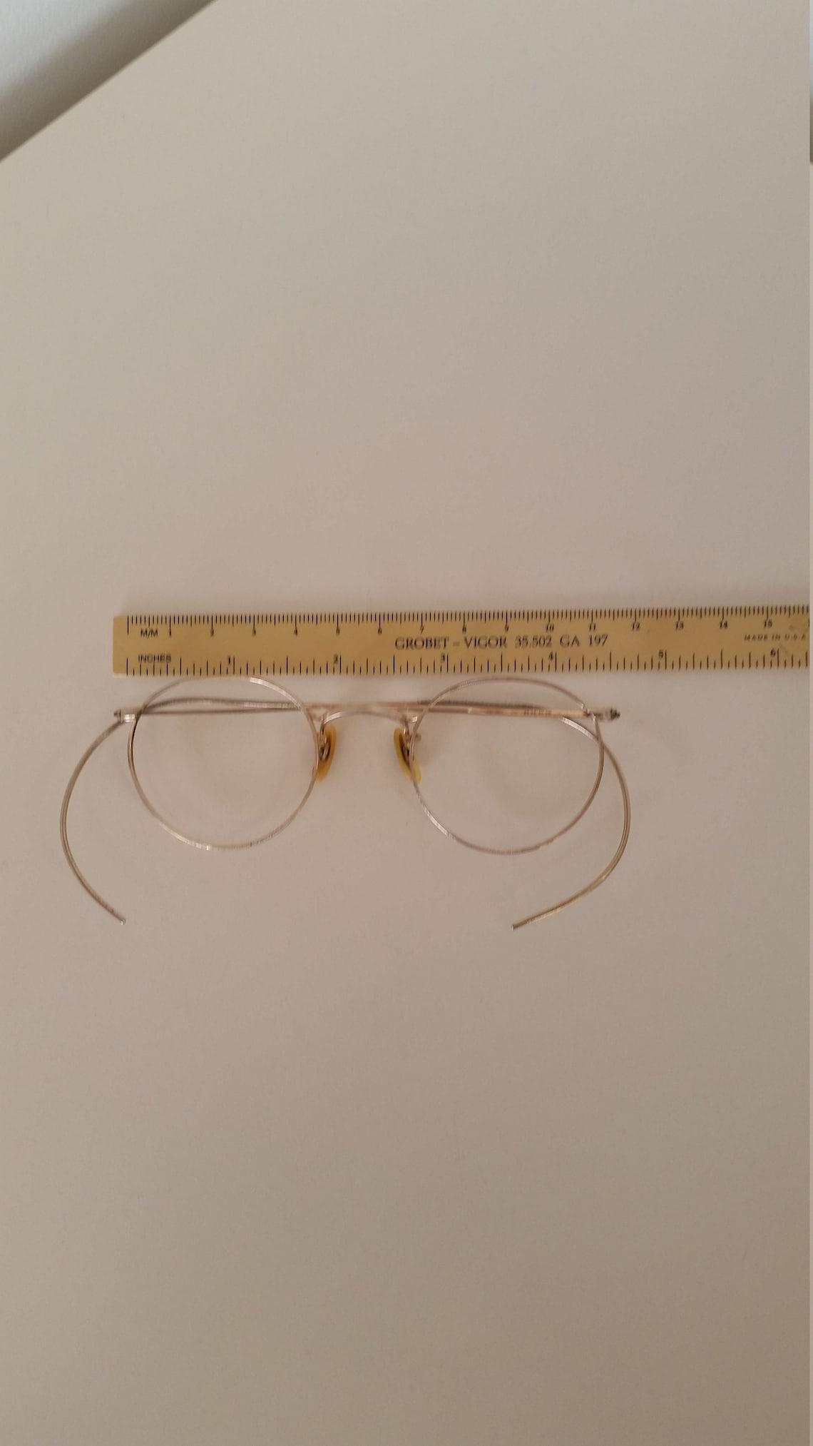 1930s Shuron Ful-Vue Eyeglasses Frame; Marked 1/10 12KGF; Gold Round Metal w/Flex Wrap Temples; Rx-able; Add Your Prescription; Reenactors
