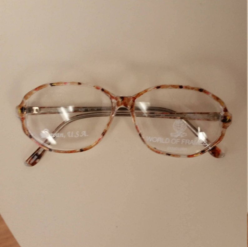 1970s Swan Eyeglasses Frame; Brown/Gold Confetti Colored Plastic; New/Old Stock w/Orig Sample Lenses; Rx-able; Excellent Vintage Condition