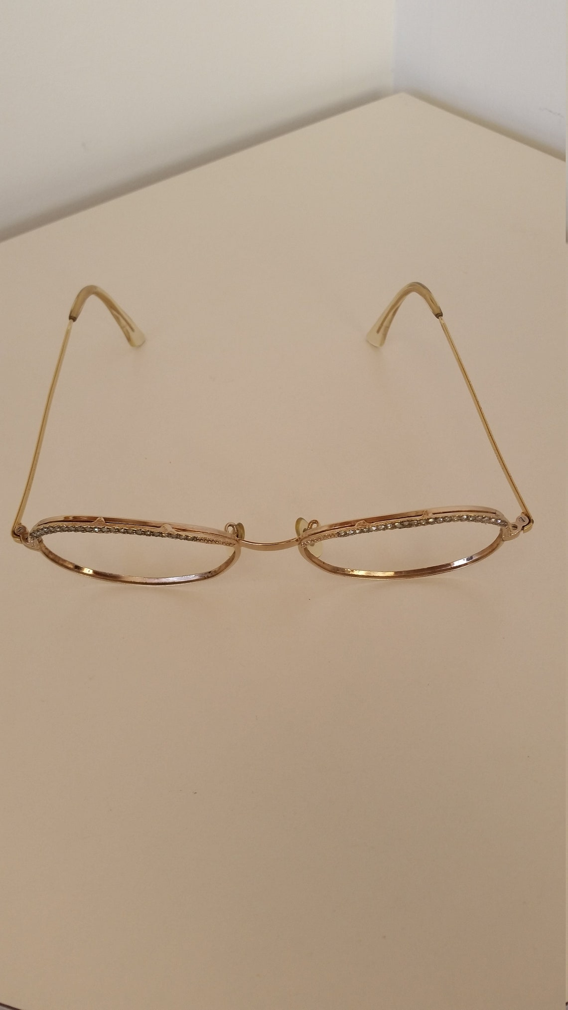 1960s Shuron Gold Tone Eyeglasses Frame w/White Crystals; Beautiful Vintage Condition; Rx-able; Add your lenses; Read Description for Size