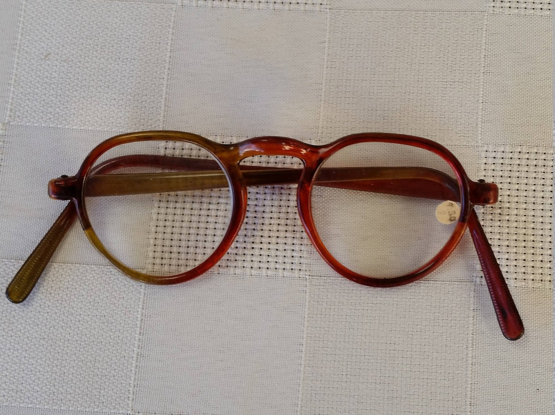 1940s Reading Glasses +4.50 Strength; NOS w/Original Sticker on  Glass Lens; Red Bakelite; Beautiful Condition; Made in USA; Ready to Wear