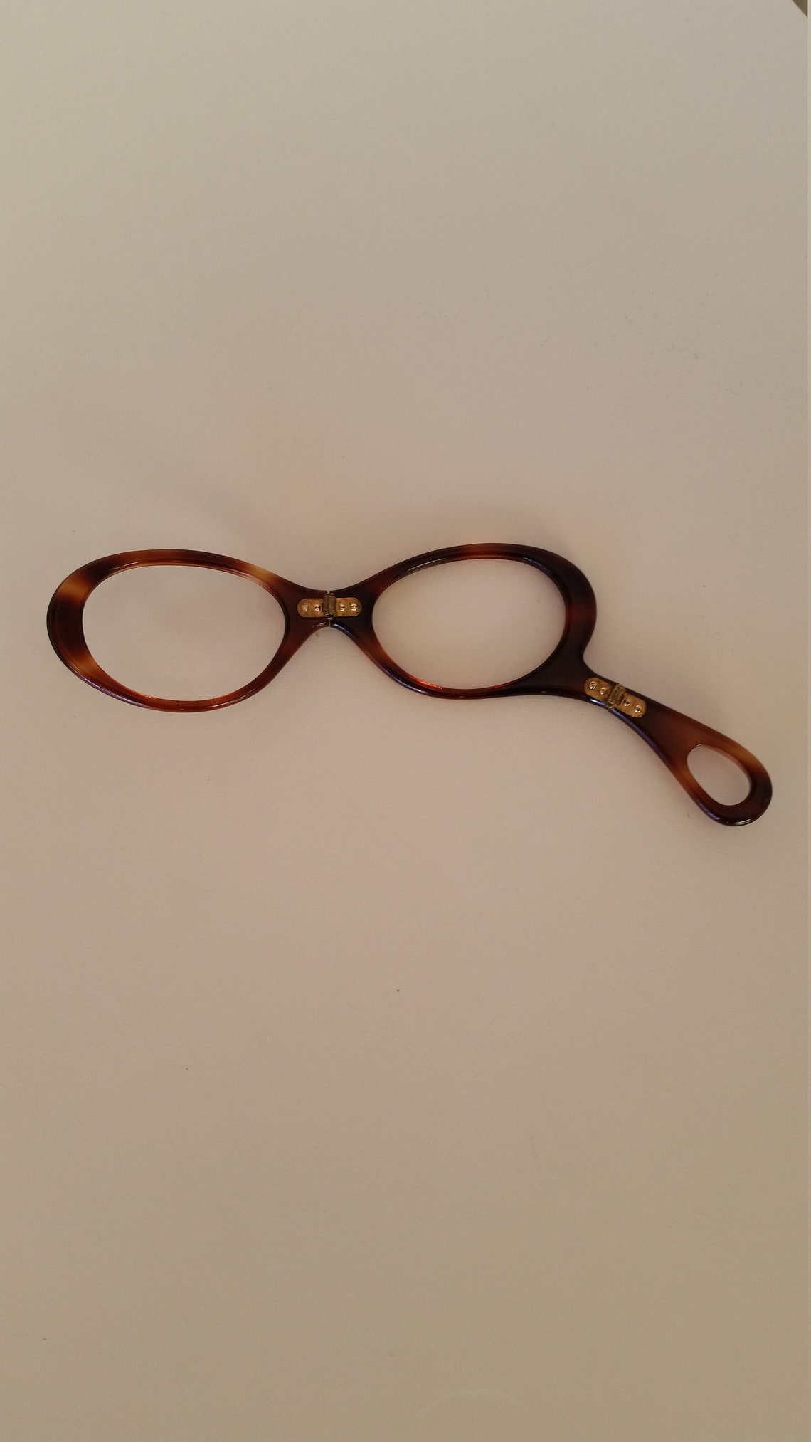 1960s Faux Tortoise Shell Lorgnette; Foldable w/Gold Tone Hinges; Excellent Condition; Rx-able; Add Reading or Prescription Lenses