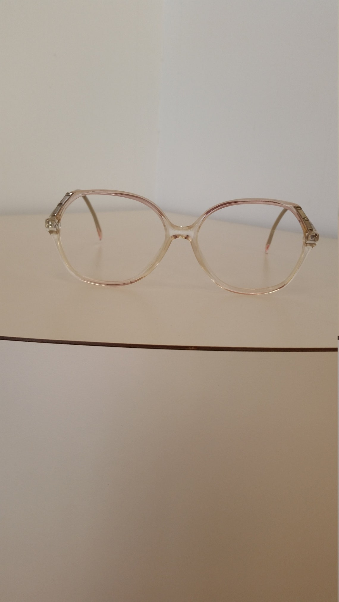 1970s Marchon Eyeglasses Frame; Rose Fade Plastic with Taupe Insets; Beautiful Vintage Condition; No Lenses; Rx-able & Ready for your Lenses