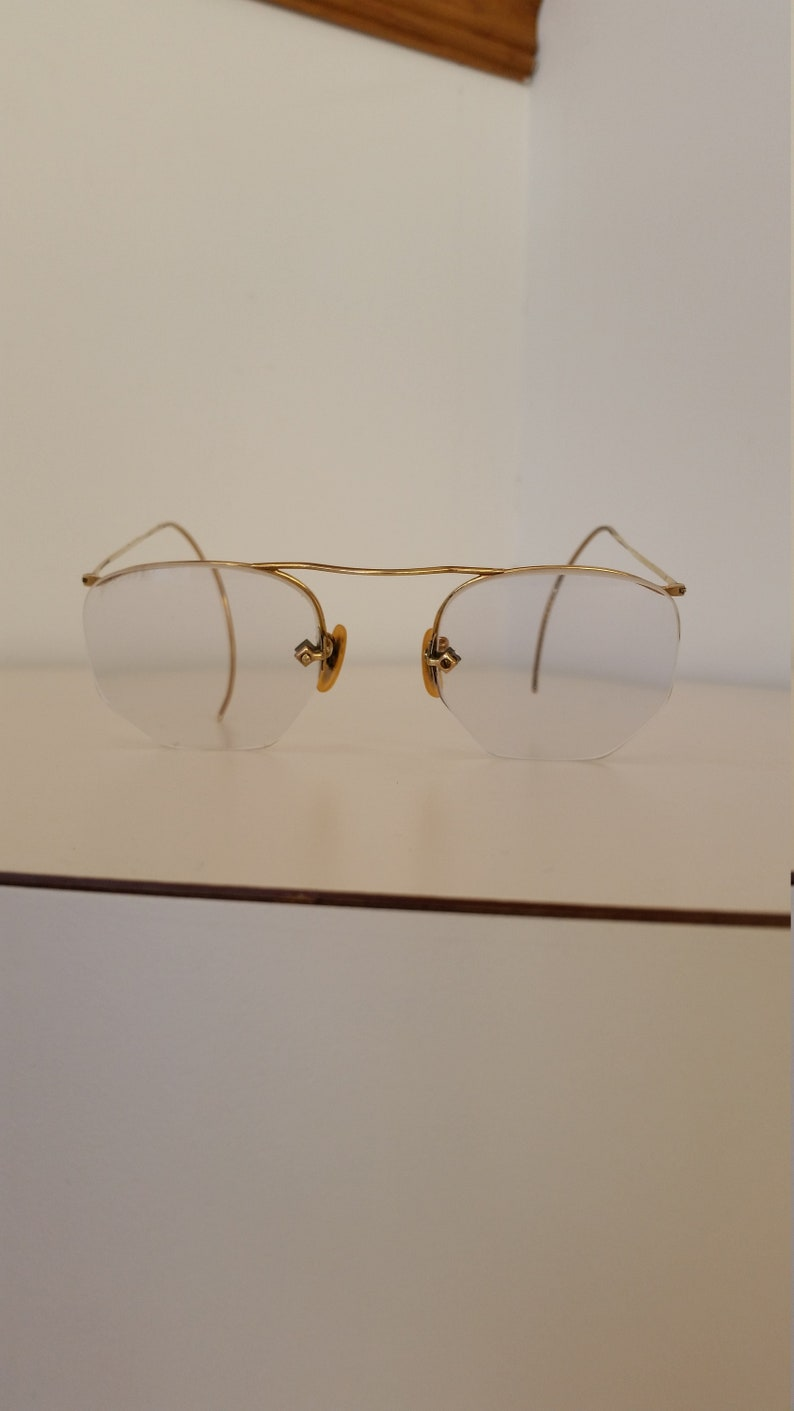 c786993e09 1930s Art Craft Reading Eyeglasses Semi-Rimless Marked 1 10