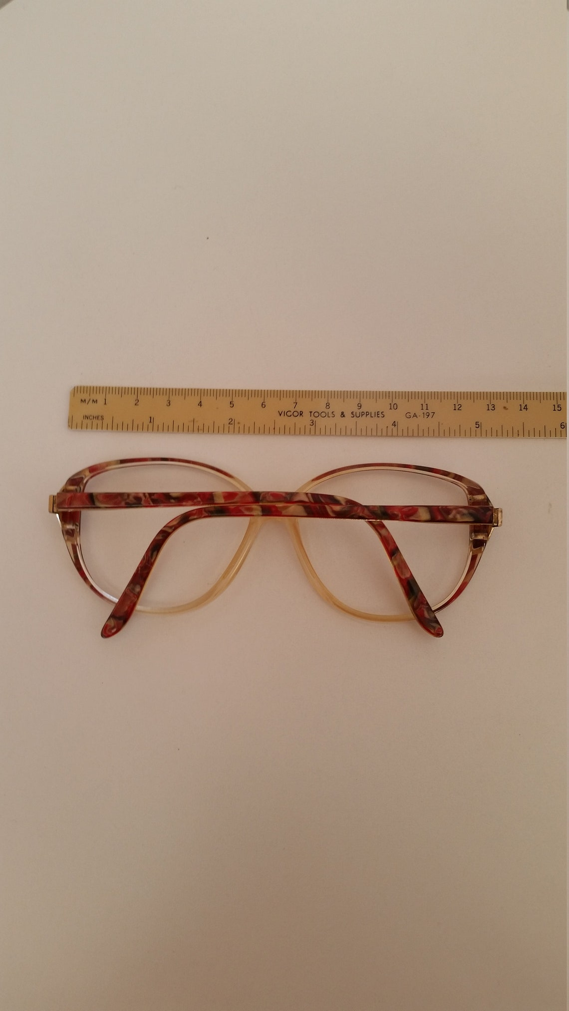 1970s Cardin Boutique Eyeglasses Frame; Red Multi Colored Plastic w/Spring Hinges; Good Vintage Condition; Rx-able; See Description Sizing