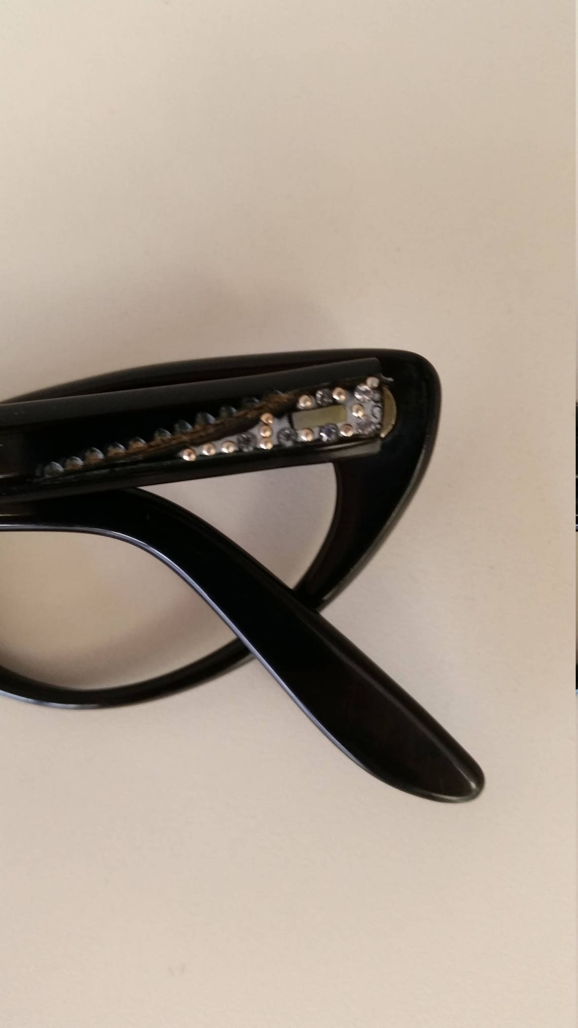 1950s Safilo Cateye Eyeglasses Frame w/ Rhinestone Crystals & Gold Insets; Excellent Condition; No Lenses; Rx-able; Made in Italy; Beautiful