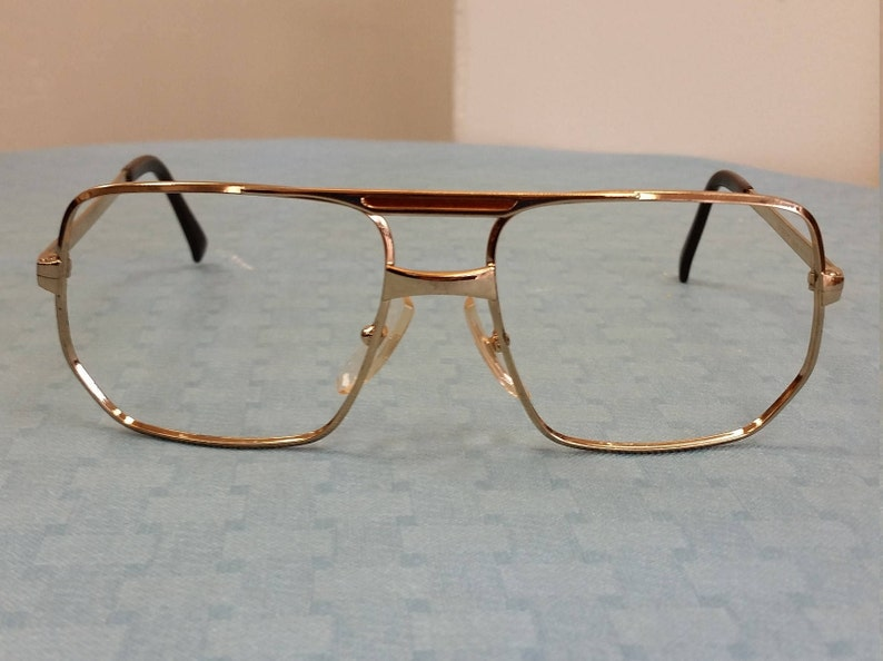 7a6a15a83385f 1980s Cottet Gold Double Bar Aviator Eyeglasses Frame