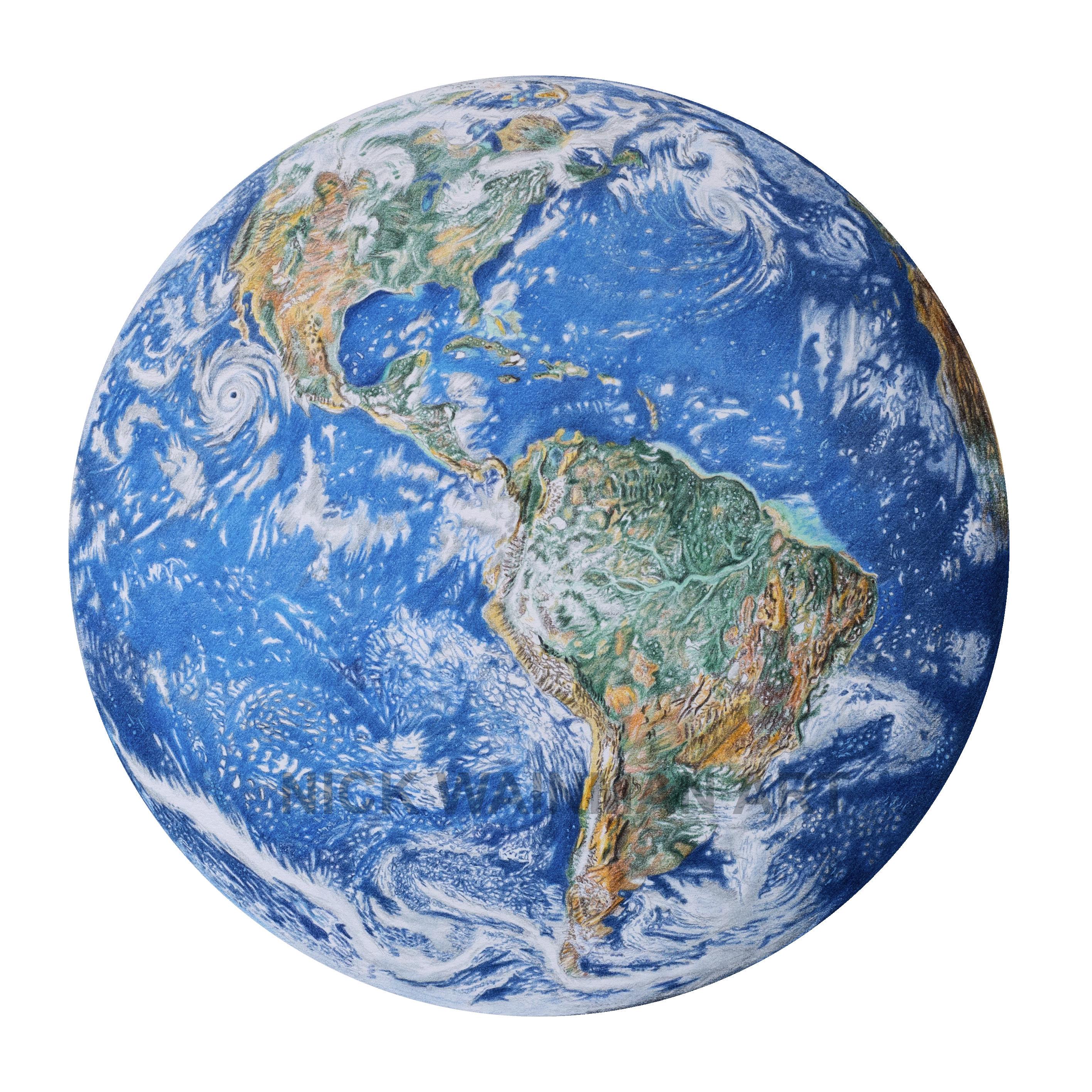 Planet Earth Drawing Print
