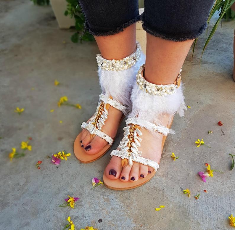 1f0f324f8c3173 Bridal Flat Sandals Beach Wedding Sandals Boho White