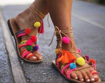 30% Easter Sales, Pom Pom Sandals ''Kirki'' , Greek Leather Sandals, Boho Sandals, Embellished Sandals, Best selling Summer Shoes