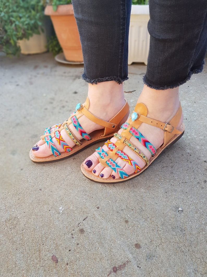 4c97aaa5595ec9 70% Summer Sales Bohemian Greek Sandals Ankle Strap Sandals