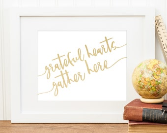 Grateful Hearts Gather Here | Thanksgiving Printable | Downloadable Print | Instant Download | Gallery Wall | Printable