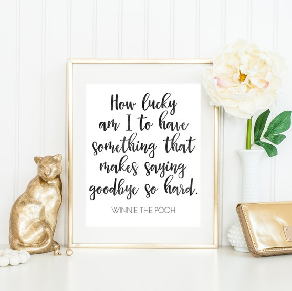 How Lucky Am I Winnie The Poo Quote Downloadable Print Etsy