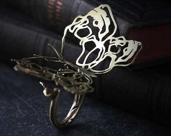 Skull Butterflies Collection - The Uncommon Defy Project -  Brass - Graphic Skull  Butterfly Ring - UCSR501 - by Defy
