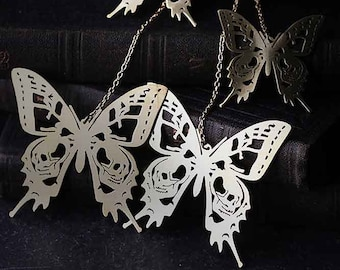 Skull Butterflies Collection - The Uncommon Defy Project -  Brass - Graphic Skull  Butterflies Earrings no.2 - UCSE502 - by Defy