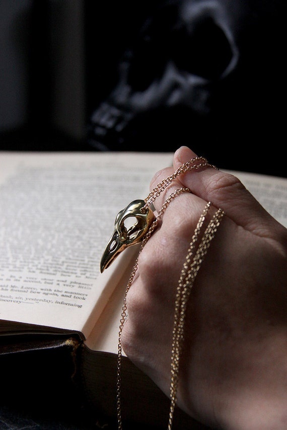 Raven Skull Necklace by Defy  Unisex Jewelry  Golden Crow Skull  Bird Charm Pendant