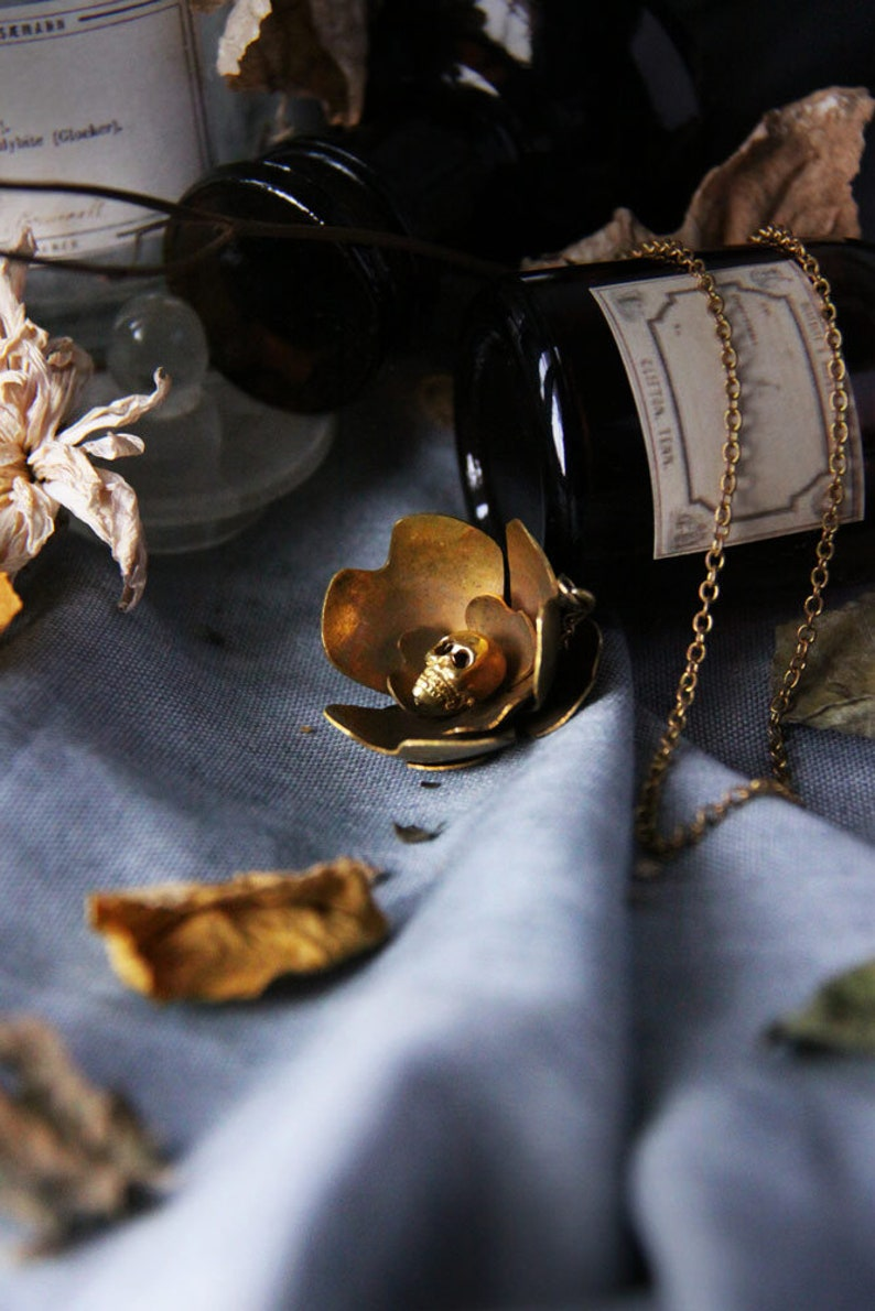 Skull Flowers Collection The Uncommon Defy Project-  Skull Flower Charm Necklace no.1 Original by Defy UCBN301