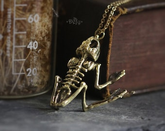 Frog Skeleton Charm Necklace by Defy - Original Handmade Jewelry