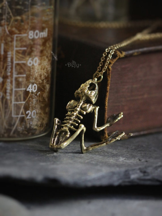 The Skeleton Frog Necklace Small Size original made and designed by Defy Unique jewelry  Dark style accessories  Skeleton necklace