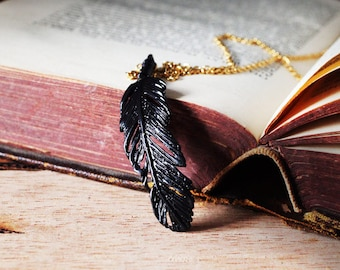 Feather Necklace (M.Size) with black Oxidation./  Unisex jewelry / Only at DEFY JEWELRY / Handmade accessories / Unique gifts /