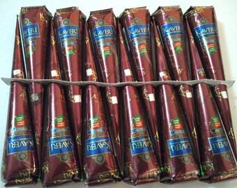 12 Natural Fresh Henna cones,Kaveri Henna Kit,Henna paste cone,Indian herbal henna bindi shop,Extra dark kaveri tattoo,Body art,Mehndi cone