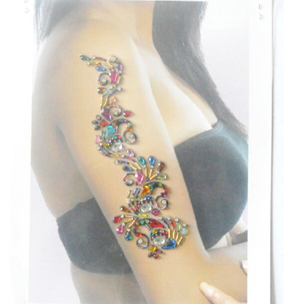 Multicolor Hand Decoration Tattoo Hans Party Sticker Bollywood Party Tattoo Self Adhesive Sticker Festival Body Jewels Temporary Tattoo