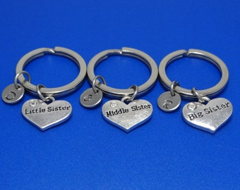 Sister Keychain, Sister Gift, Big Sister, Middle Sister, Little Sister, Sisters Forever, Heart Sister, Gift for sister, Personalised