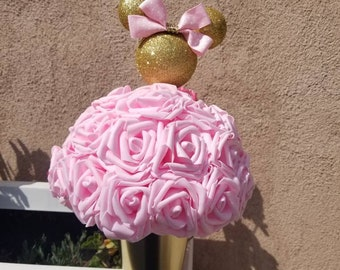 Pink And Gold Minnie Mouse Centerpieces Birthday Gift Red
